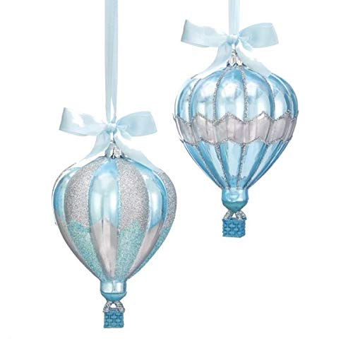 Kurt S. Adler Blue and Silver Glass Hot Air Balloon Ornaments, 2 Assorted
