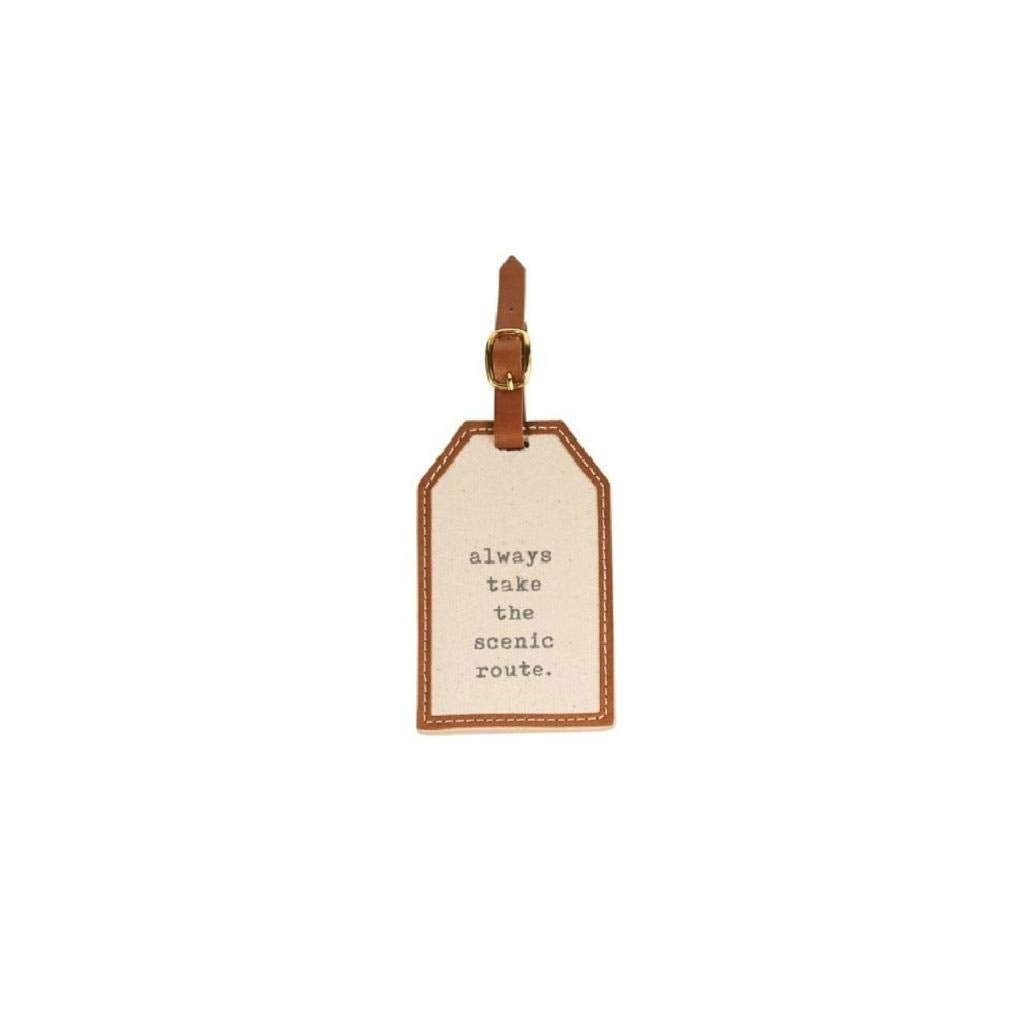 "Mud Pie""Always Take the Scenic Route"" Canvas Luggage Tag"