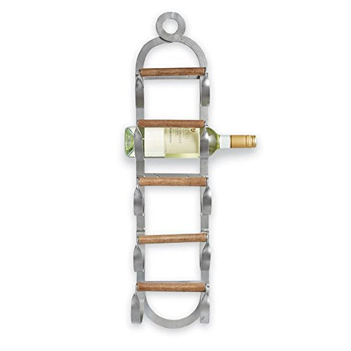 Mud Pie Metal and Wood Wine Mounted Wall Rack, One Size, Brown, Silver