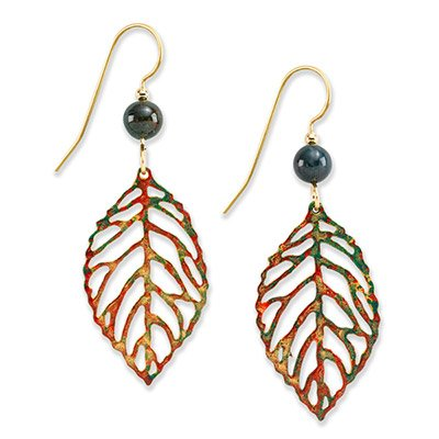 Silver Forest Open Leaves with Green Bead Dangle Earrings