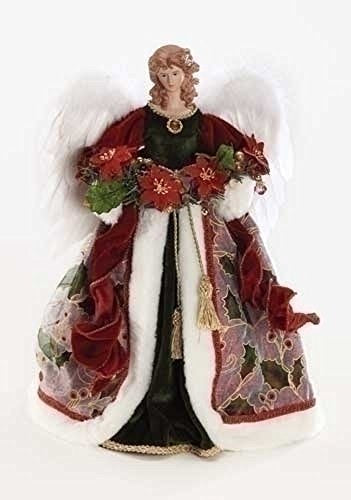 Elegant Rosy Red Holly Gown Angel 16 inch Decorative Tree Topper