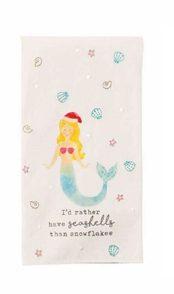 Mud Pie H9 Coastal Beach Christmas Embroidered Sequin Beach Hand Towel 41500037 (Mermaid)