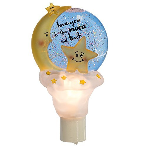 Love You to Moon Back 3.5 x 6.5 Inch Electric Wall Plug-In Water Globe Night Light