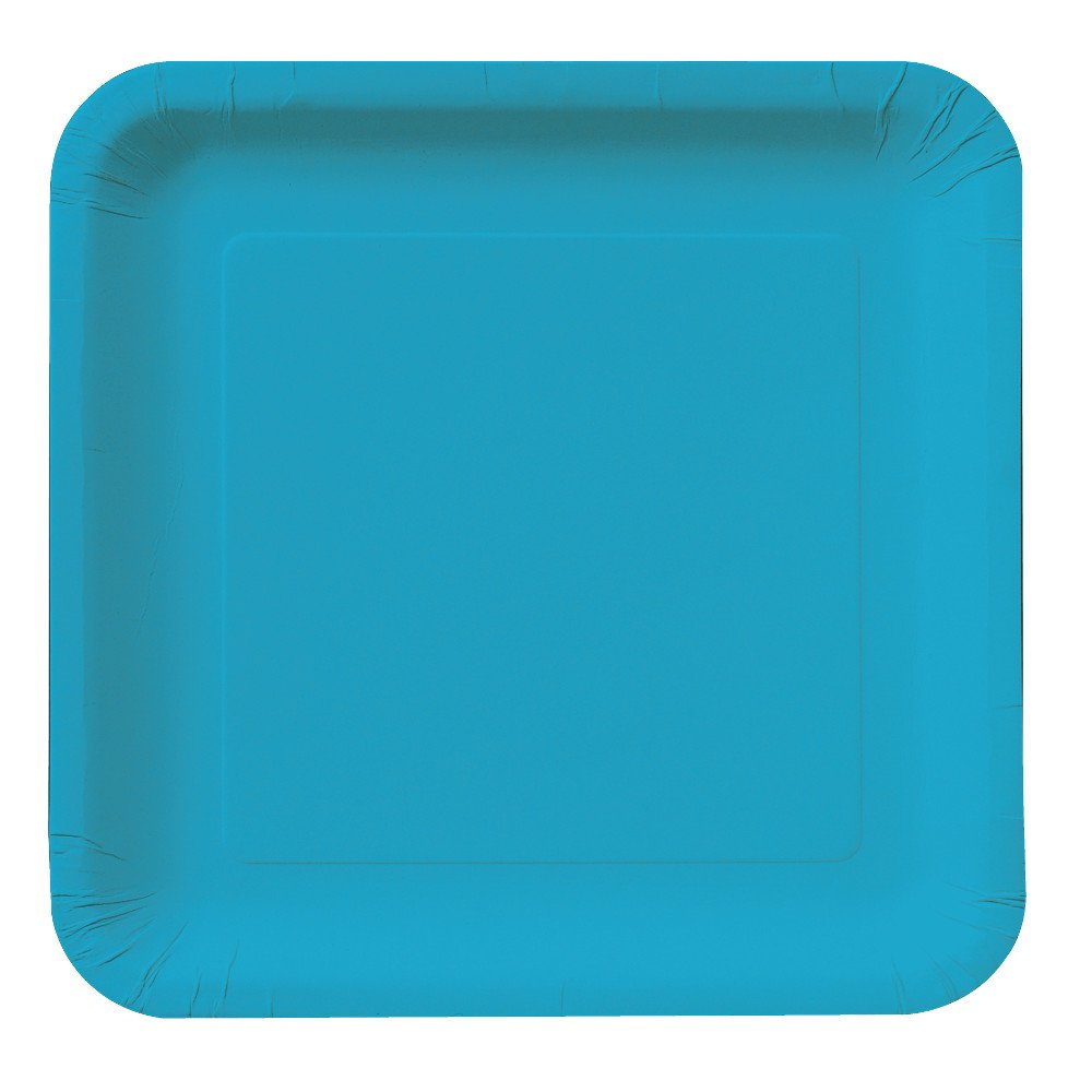 Creative Converting Touch of Color 18 Count Square Paper Dinner Plates, Turquoise