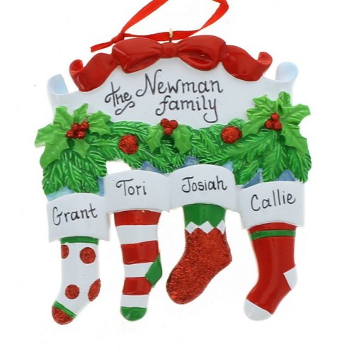 Stocking Family of Four Ornament