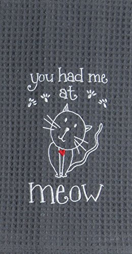 Kay Dee Designs Meow Embroidered Waffle Towel
