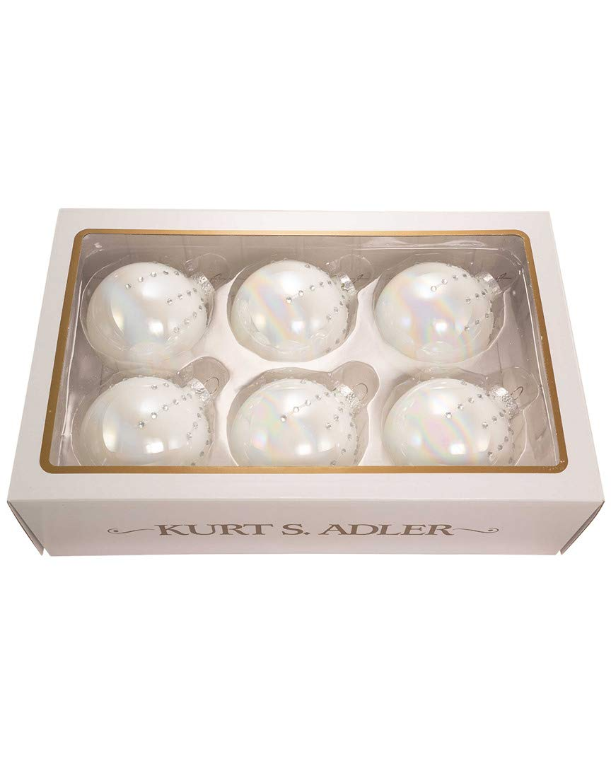 Kurt Adler Pearl White Glass Ornaments Home Decor 6 Pieces Box Set
