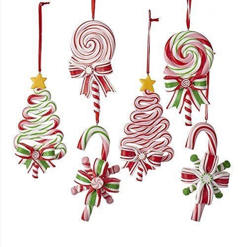 Kurt AdlerPEPPERMINT CANDY LOLLIPOP ORNAMENTS