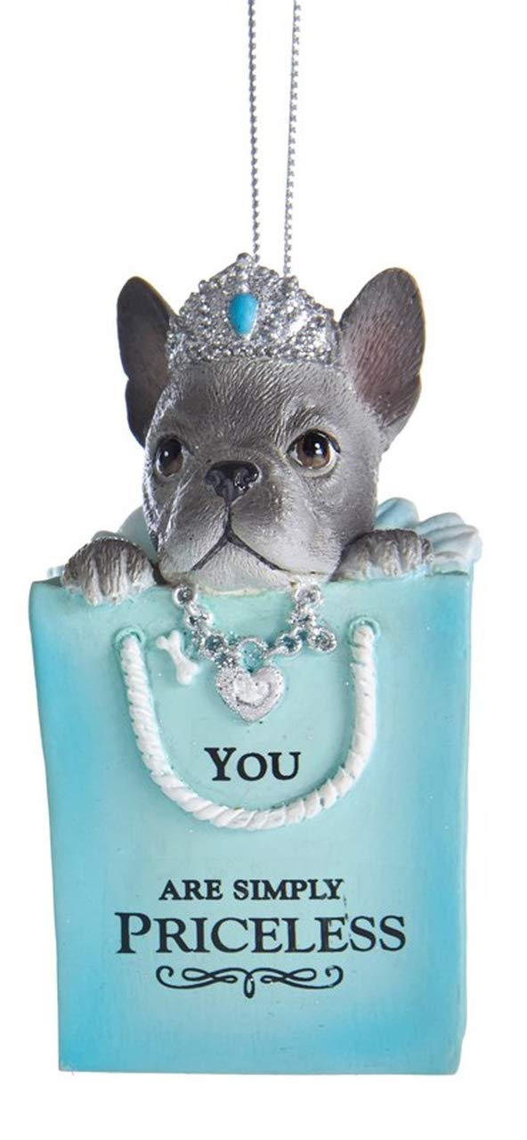 Tiffany Blue Puppy with Sayings Ornaments