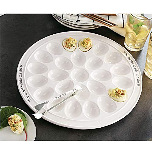 "Mud Pie 40700094 Circa Round Plate Set Deviled Egg Tray, 14.25"" diameter, white"