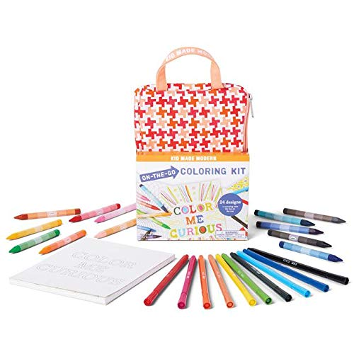 Kid Made Modern On-The-Go Coloring Kit - Kids Coloring Book & Crayons | Arts & Crafts Supplies