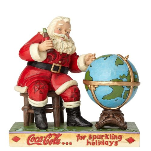 Enesco 6.4 Inches Height x 4.2 Inches Width x 6.7 Inches Length Coca Cola Santa and Globe Collectible Figurine