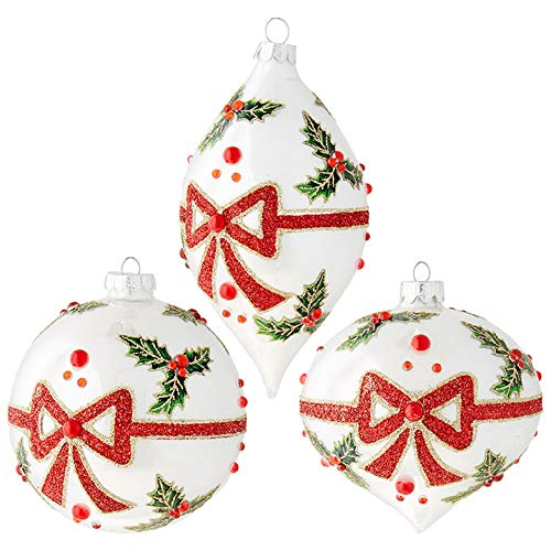 "Set of 3 Raz 6.25"" Holly Bow Glass Christmas Ornament 3922921"