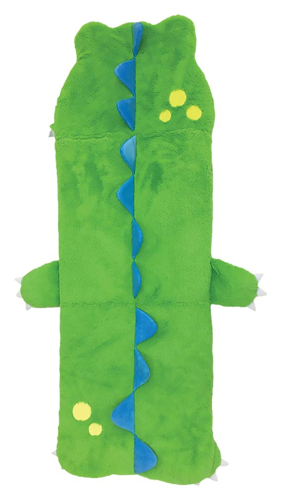 "iscream Furry Dinosaur 73"" x 25"" Faux Sherpa-Lined Plush Fleece Zippered Sleeping Bag"