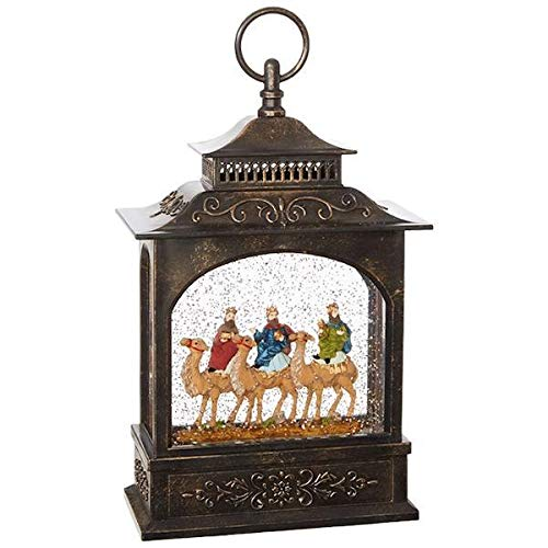 The 3 Wisemen Nativity Lighted Water Lantern with Swirling Glitter