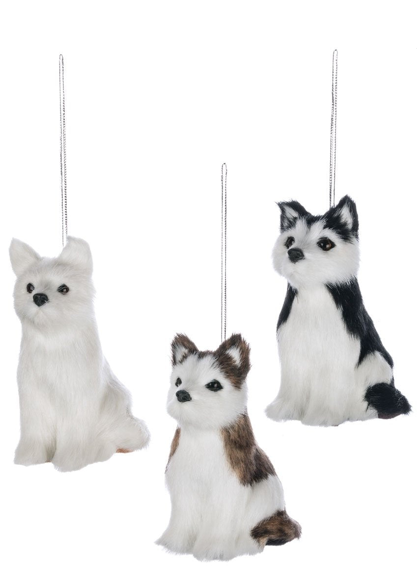 "Sullivans Faux Fur Dogs Christmas Ornaments, Set of 6 in 3 Styles, 4.25"" Each, White"