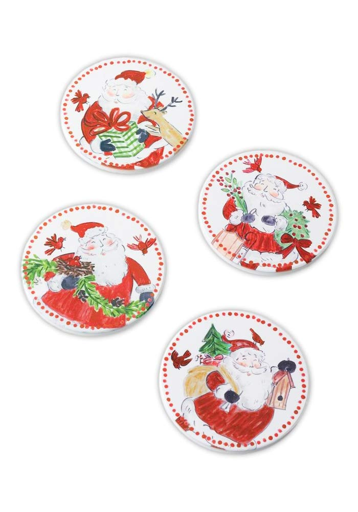 Classic Santa Claus Ceramic Coasters, Set of 4