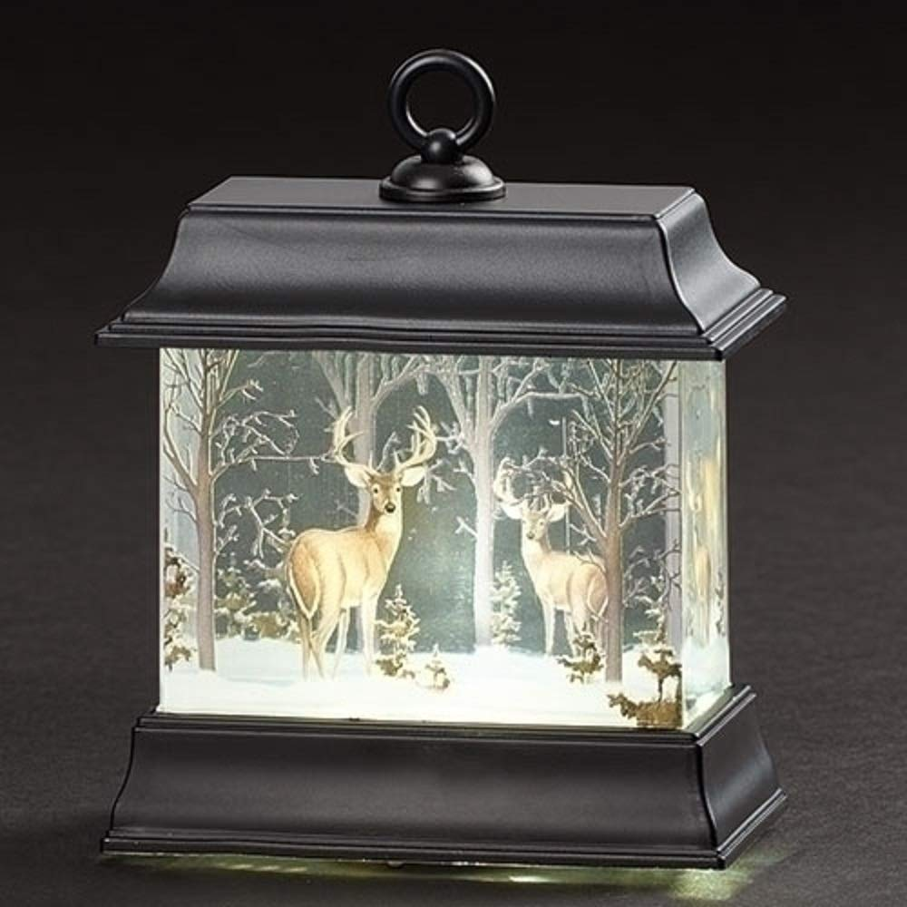 Roman 4.5 Inches LED Deer Print Lantern with Glitter