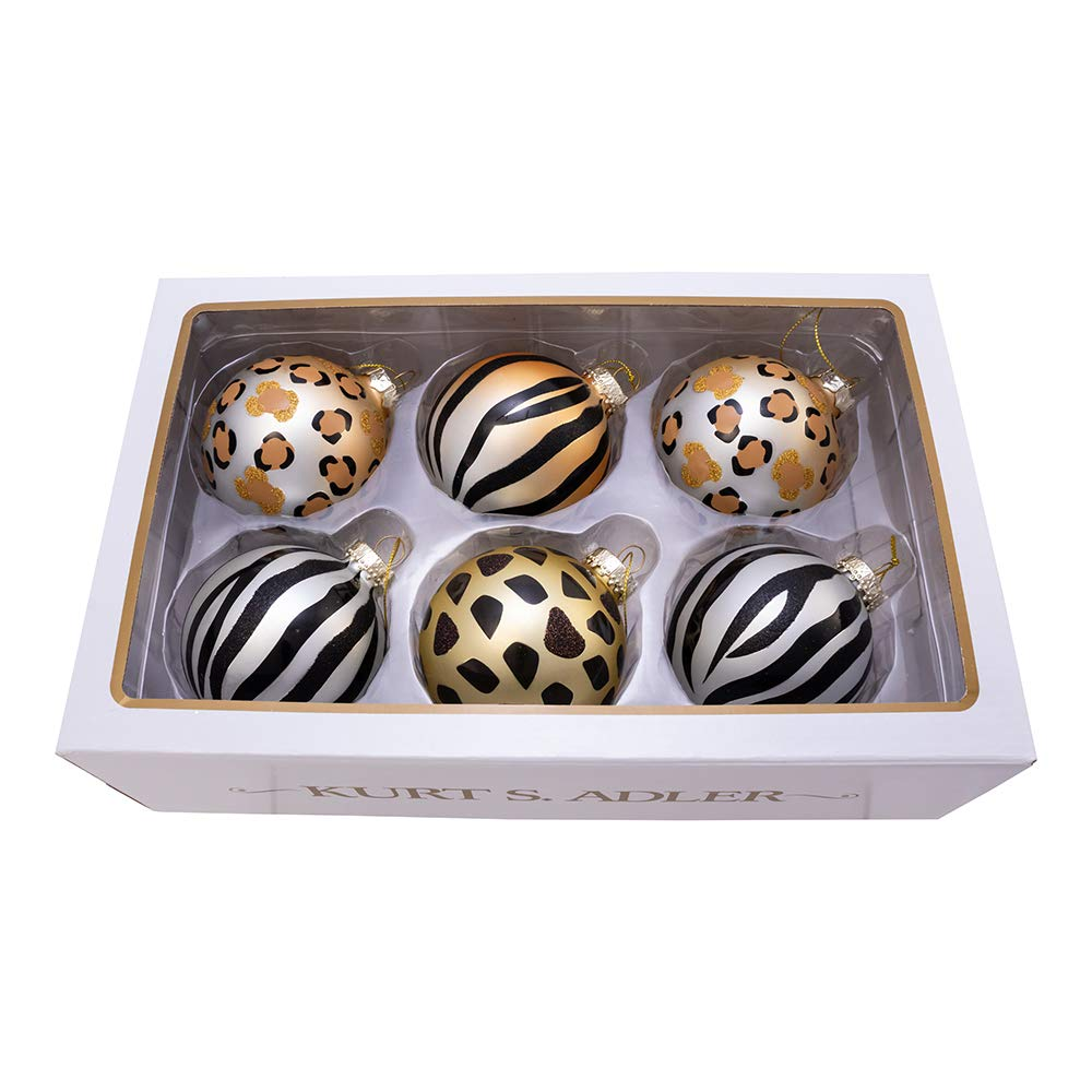 Kurt Adler Kurt S. Adler 80MM Gold, Silver and Black Animal Glass Ball, 6 Piece Box Ornament, Multi