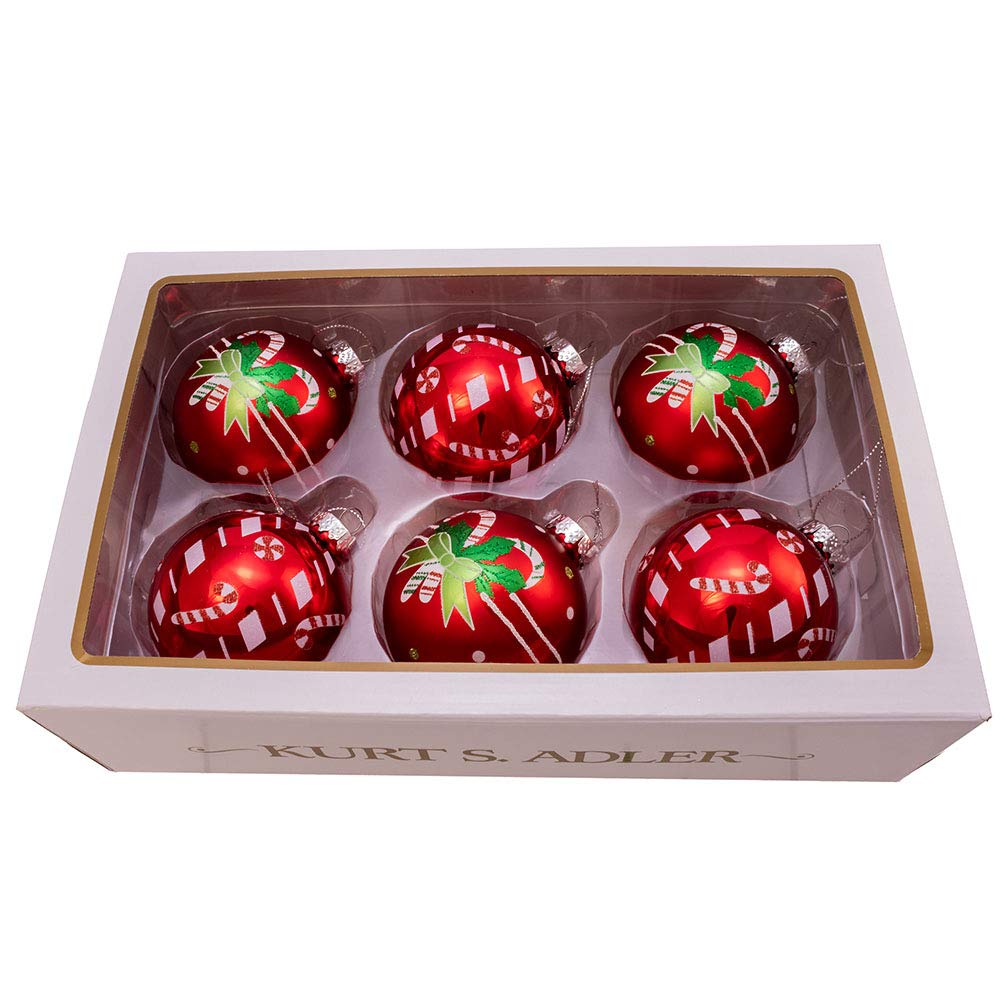 Kurt Adler Kurt S. Adler 80MM Matte and Shiny Red with Candy Canes Glass Ball, 6 Piece Box Ornament, White, Green