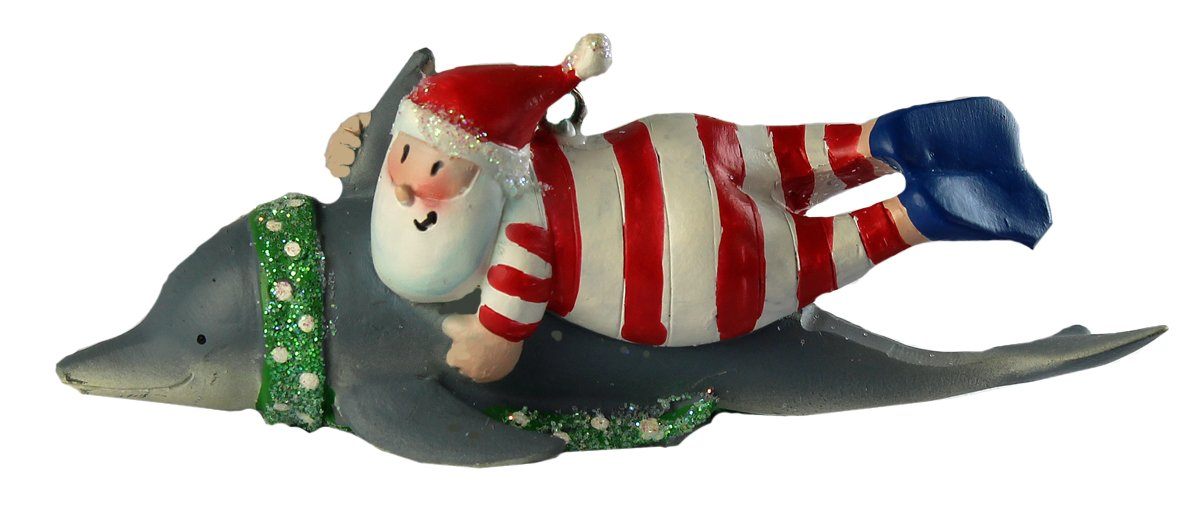 Santa Swimming with Dolphin Christmas Tree Holiday Decoration Ornament