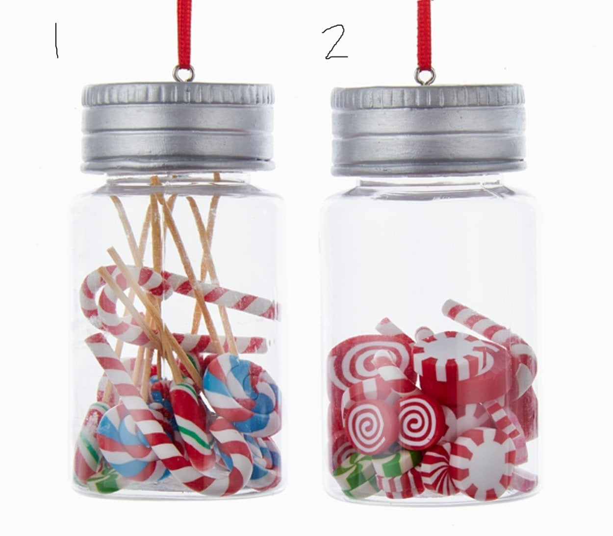 Candy Jar Peppermints And Assorted Candy Christmas Ornaments