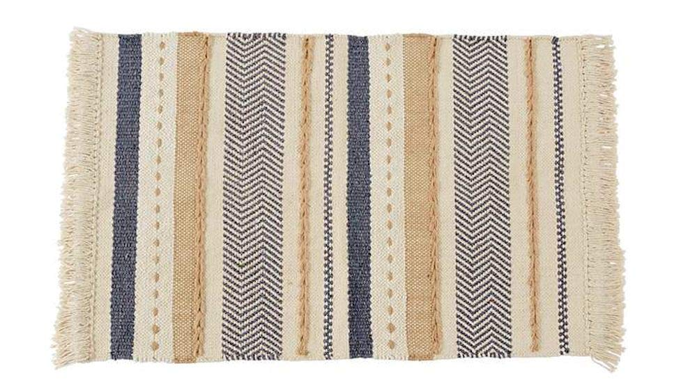 "Mud Pie Chevron Stripe Rug Size: 36"" x 24"" (Light Grey)"