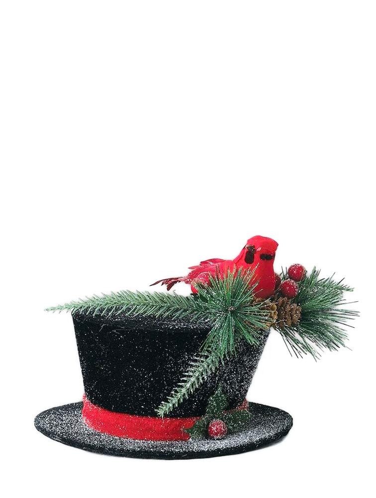 Sullivans Decorative Snowman Top Hat with Cardinal Topper