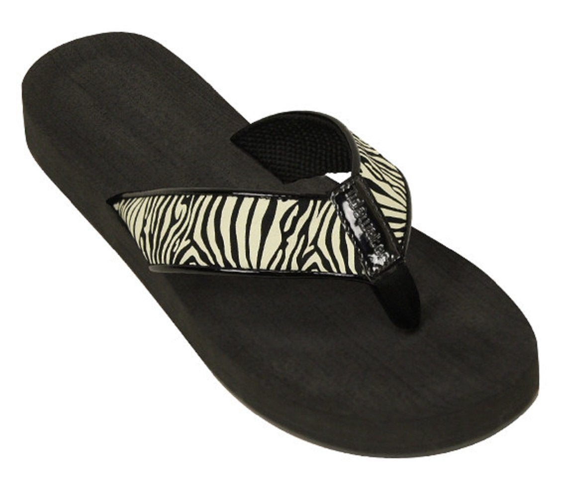 Womens Tidewater Boardwalk Flip Flop Sandals, Zebra, 7