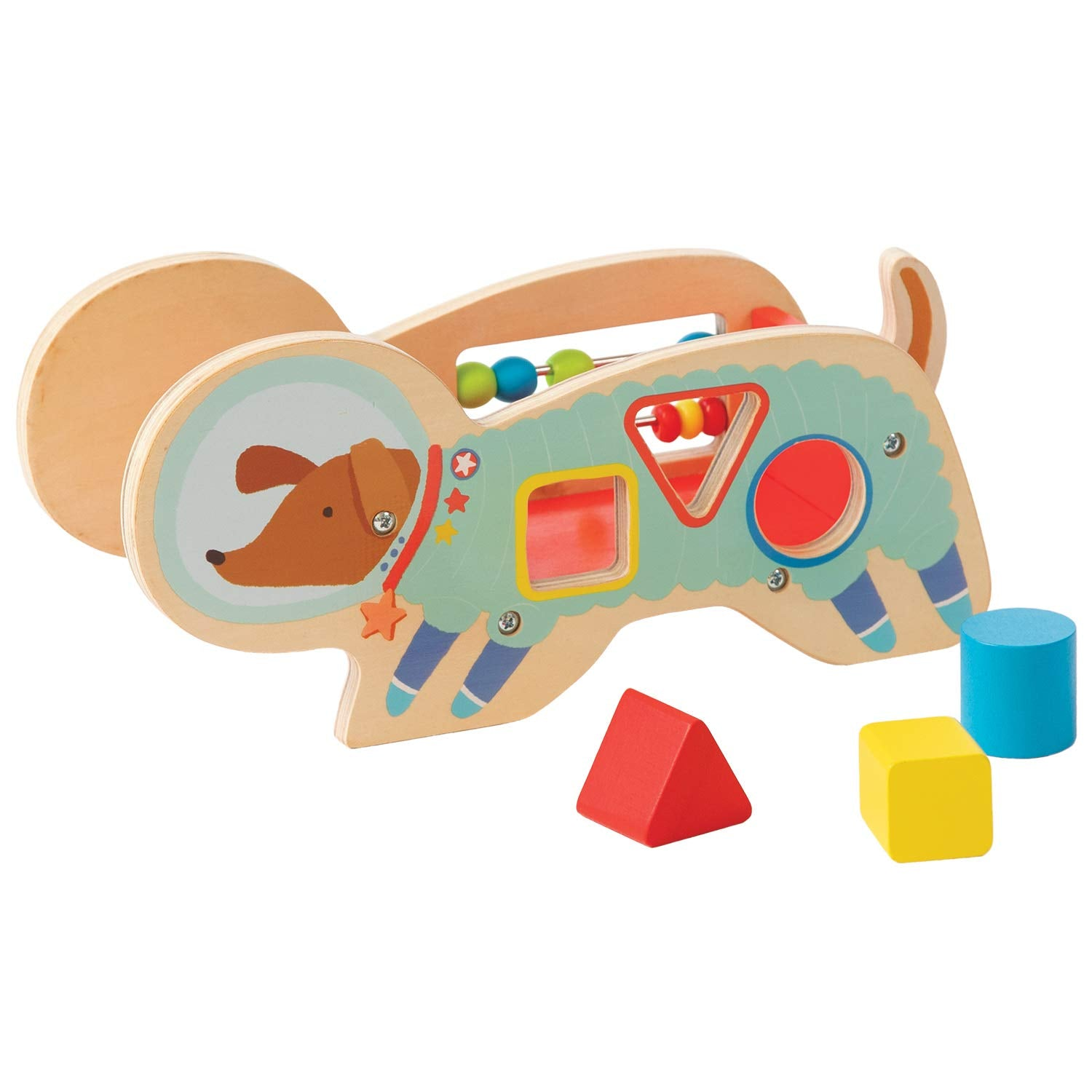 Manhattan Toy Space Dog Wood Shape Sorter with Springy Tail & Bead Run