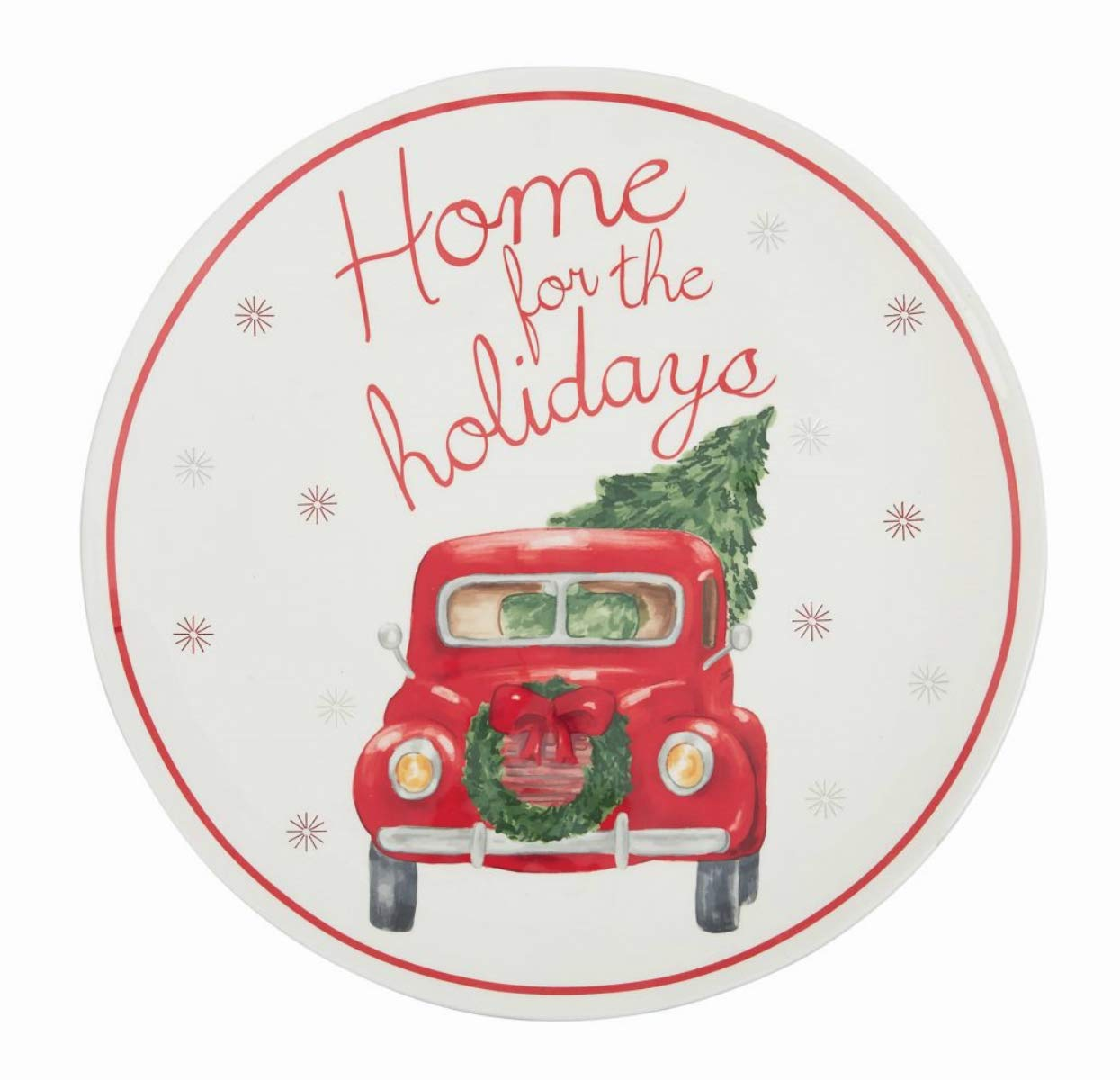 "Mud Pie Home for Holidays Christmas Tree Farm Truck Embellished Platter 14"" diameter 40700175"