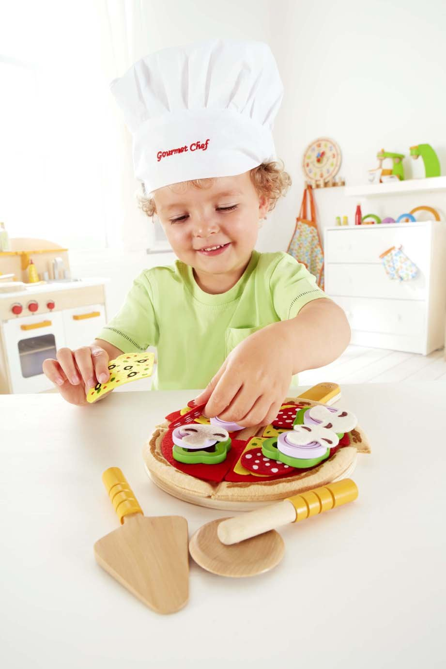 Hape Homemade Wooden Pizza Play Kitchen Food Set and Accessories