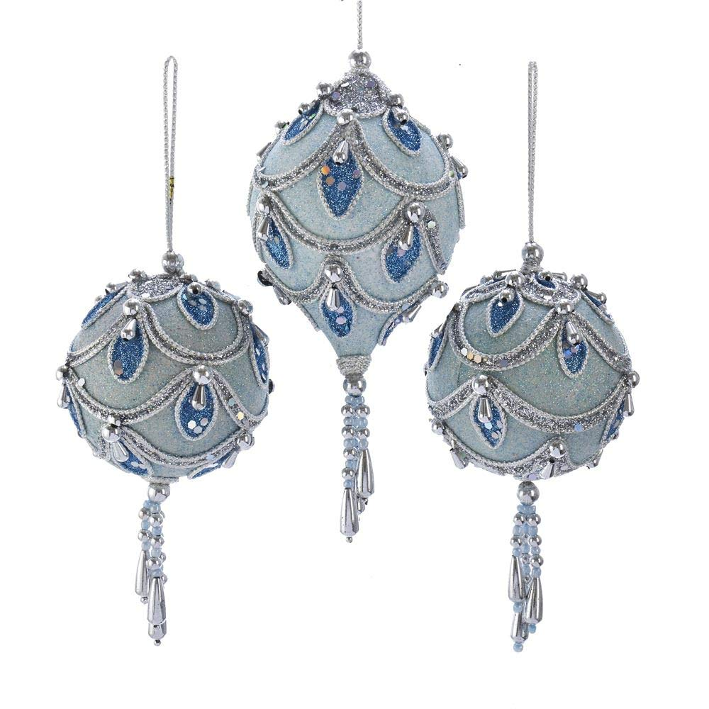 Kurt Adler Blue and Silver 8 inch Acrylic Christmas Hanging Figurine Ornaments