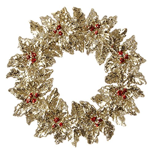 Glittered Gold Holly and Red Berry Wreath Ornament