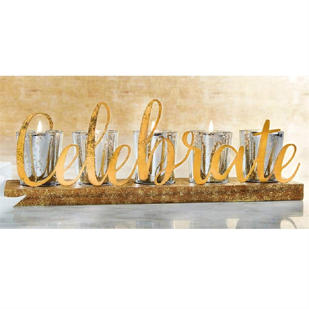 Mud Pie Gold Celebrate Votive Holder
