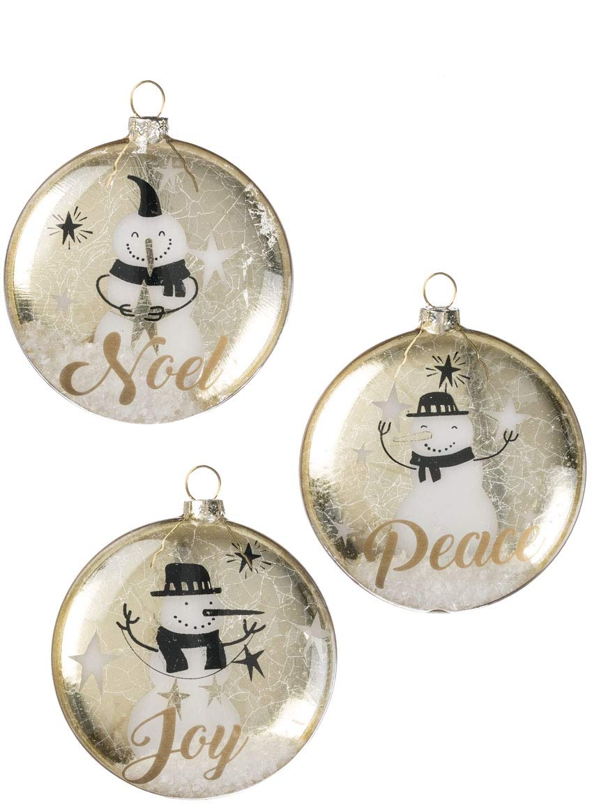"Sullivans Snowman Joy, Noel, and Peace with Snow Inside Glass Christmas Ornaments, Set of 6 in 2 Styles 4"" x 4.5"" Each Gold, White and Black"