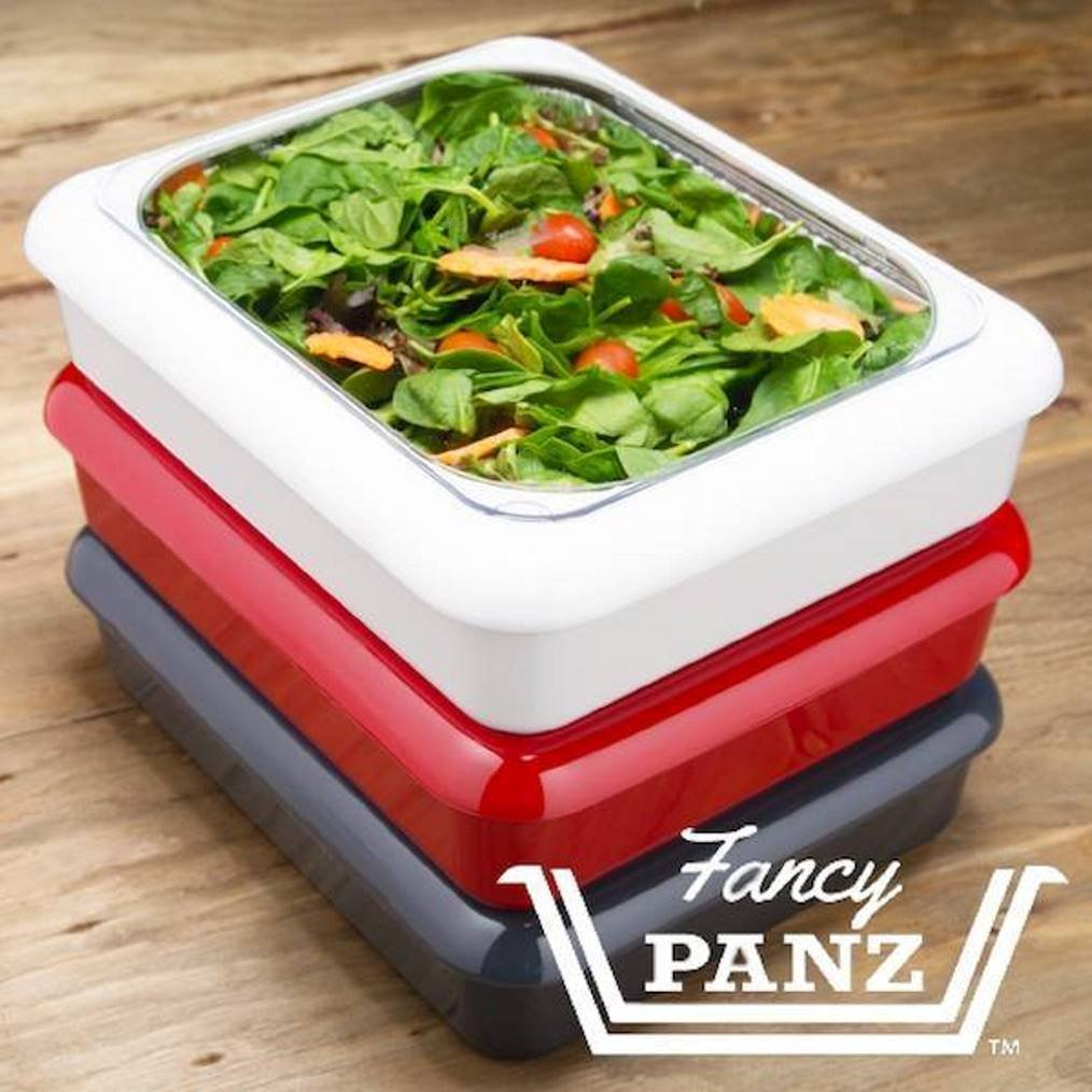 Fancy Panz FP21001 2 in 1 Portable Casserole Carrier for Indoor and Outdoor Use, fits Shallow or Standard Half Size Foil Pans, Bonus Serving Spoon and Foil Pan Included, White