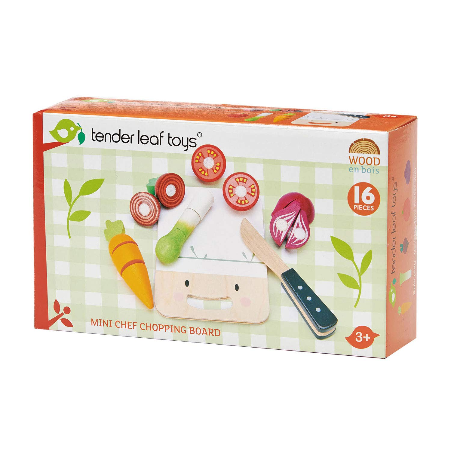 Tender Leaf Toys - Mini Chef Chopping Board - Pretend Food Play Cutting Toys with Various Velcroed Vegetables, Cutting Board and Knife - Encourage Role Play and Develops Social Skills for Children 3+