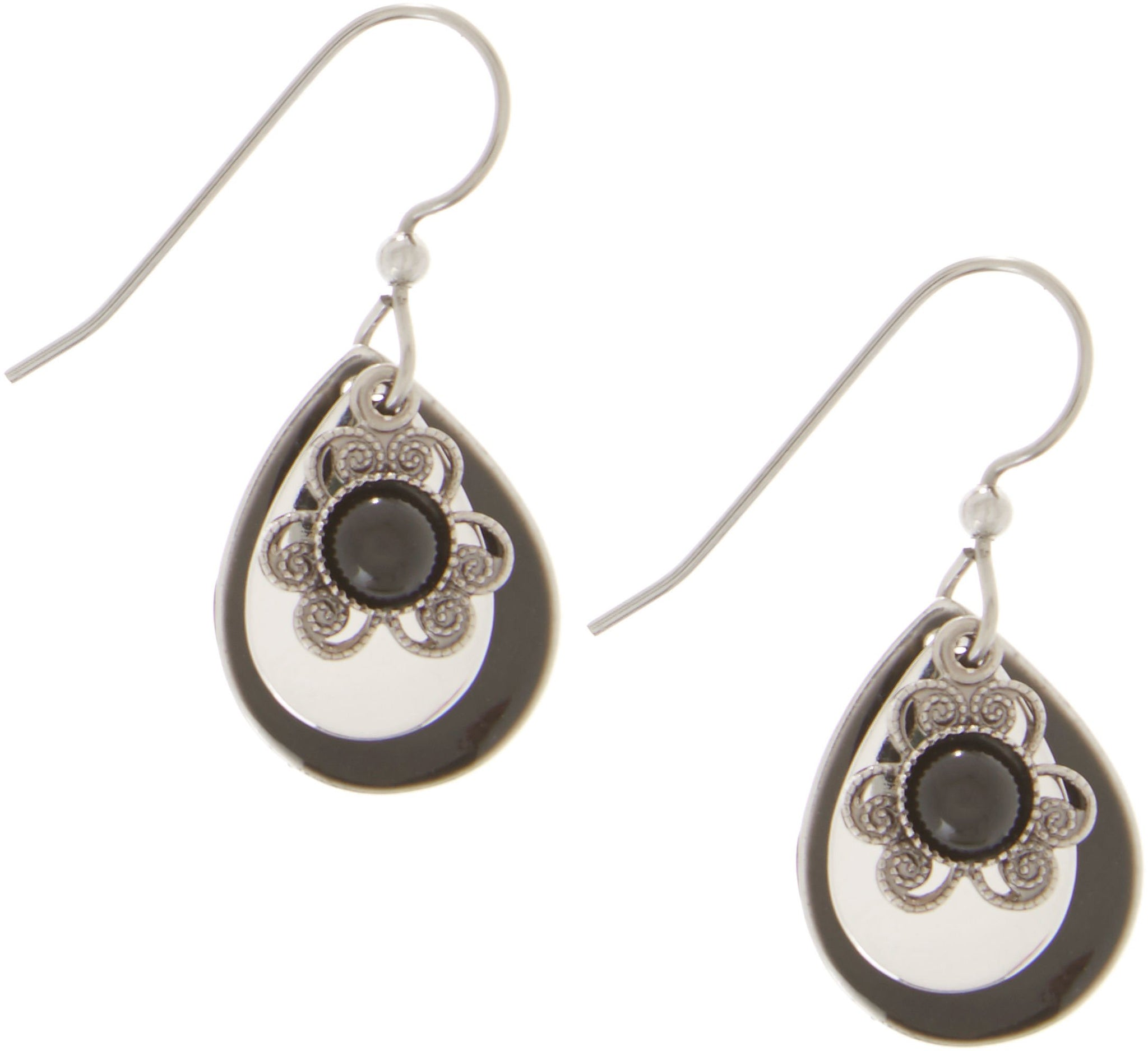 Silver Forest Black Teardrop Layered Earrings One Size Black/silver tone