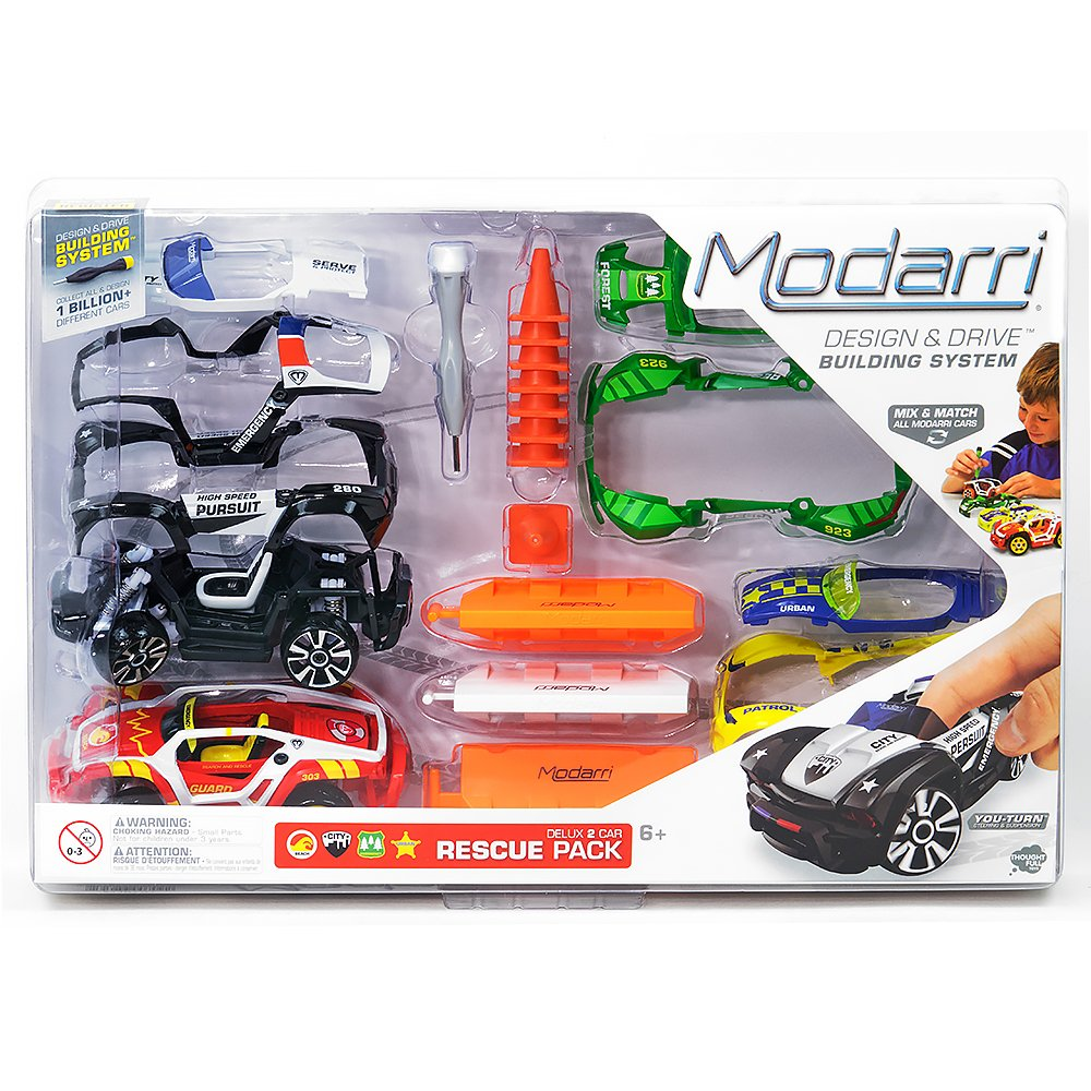 Modarri Rescue Vehicle Building Toys | Ultimate Toy Car Building Kit | STEM Toys | Best Kids Toys | Design Build and Drive Your own Toy car | Police Car Ranger Rescue