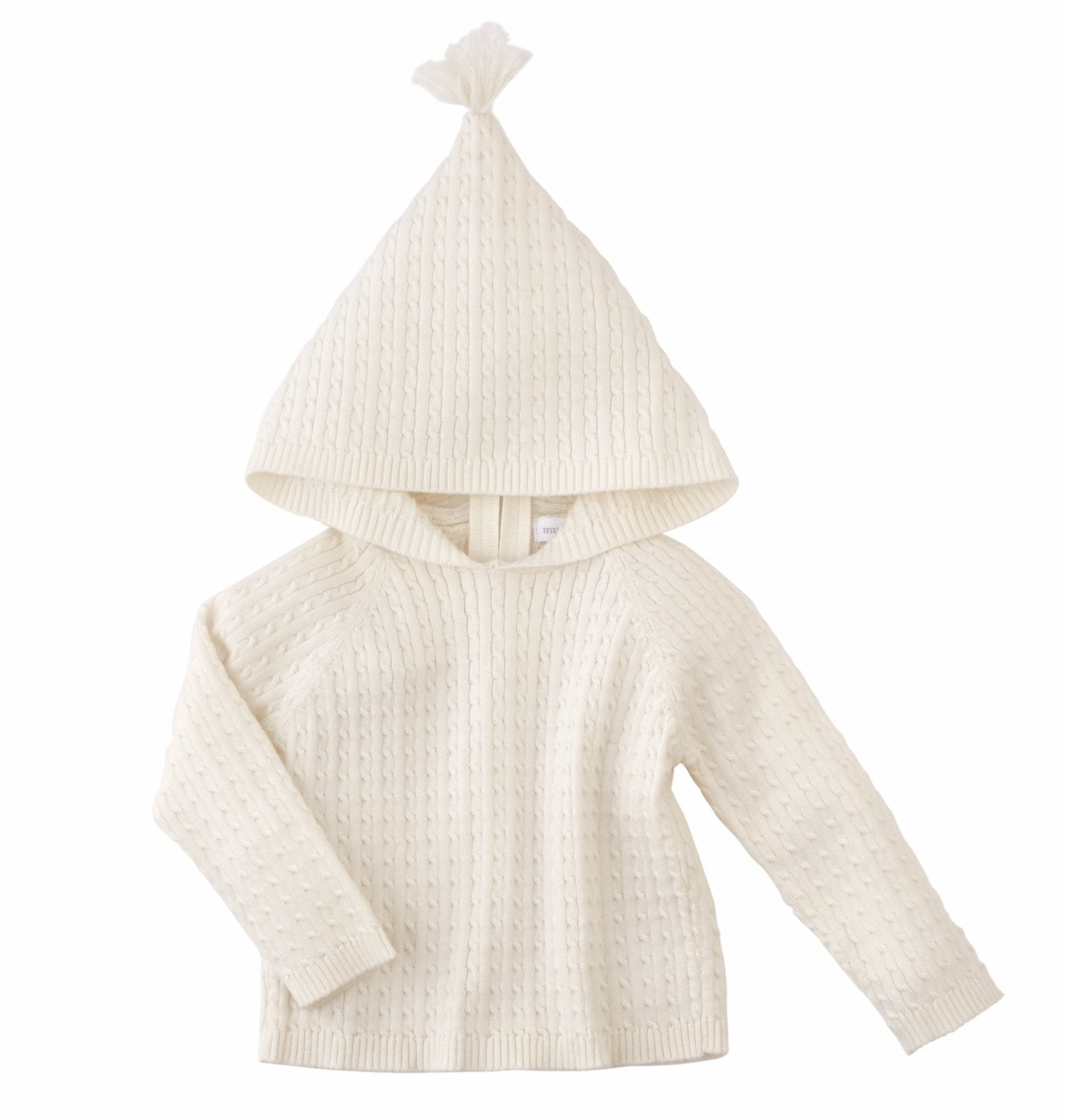 Mud Pie Ivory Cable Infant Knit Zip Hoodie (6-12 Months)
