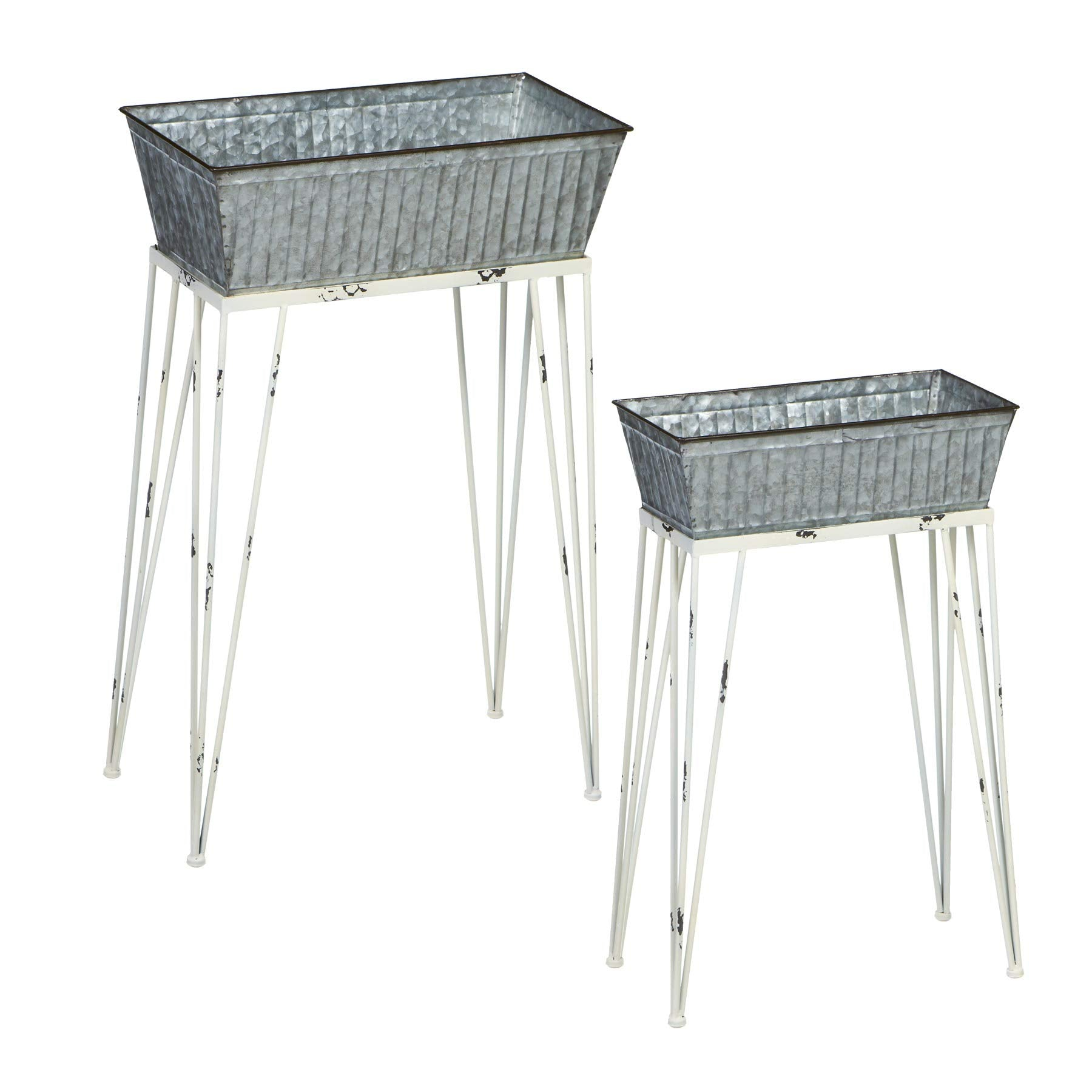 CBK 2 Piece Set Tapered Rectangle Galvanized Plant Stand with White Legs 164076