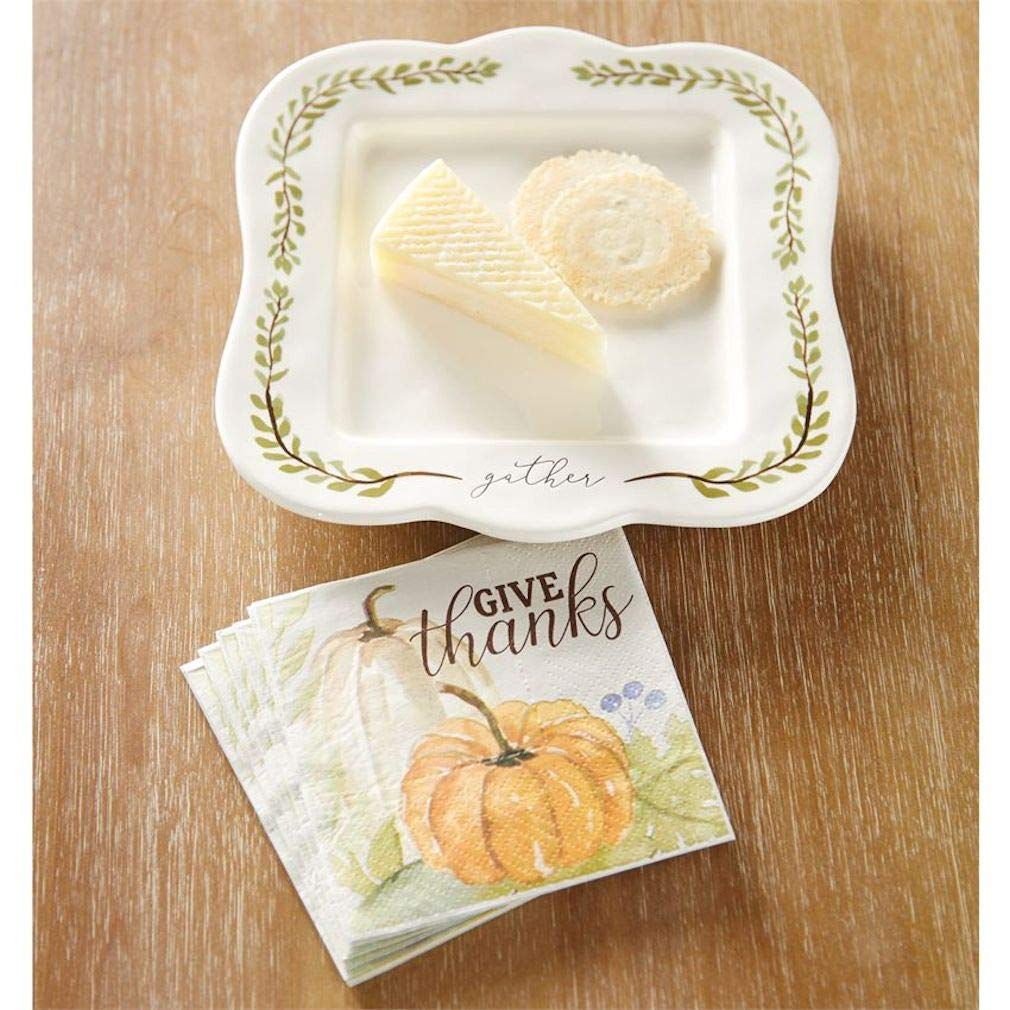 "Mud Pie Gather Pumpkin Cheese Plate with Napkins plate 8 3/4"" x 8 1/2"""