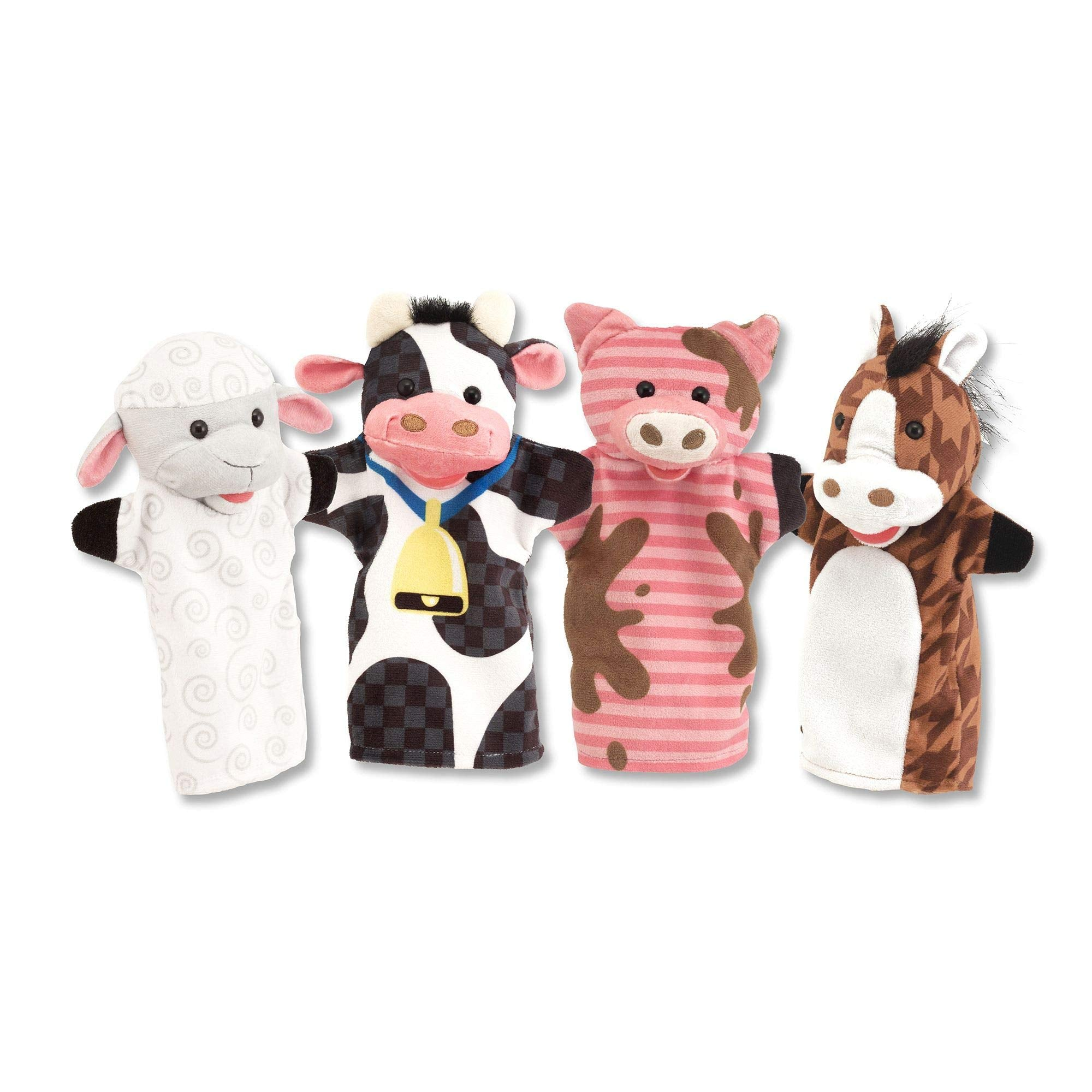 Melissa & Doug Farm Friends Hand Puppets - The Original (Set of 4 - Cow, Horse, Sheep, and Pig - Soft Plush Material, Great Gift for Girls and Boys - Kids Toy Best for 2, 3, 4, 5 and 6 Year Olds)