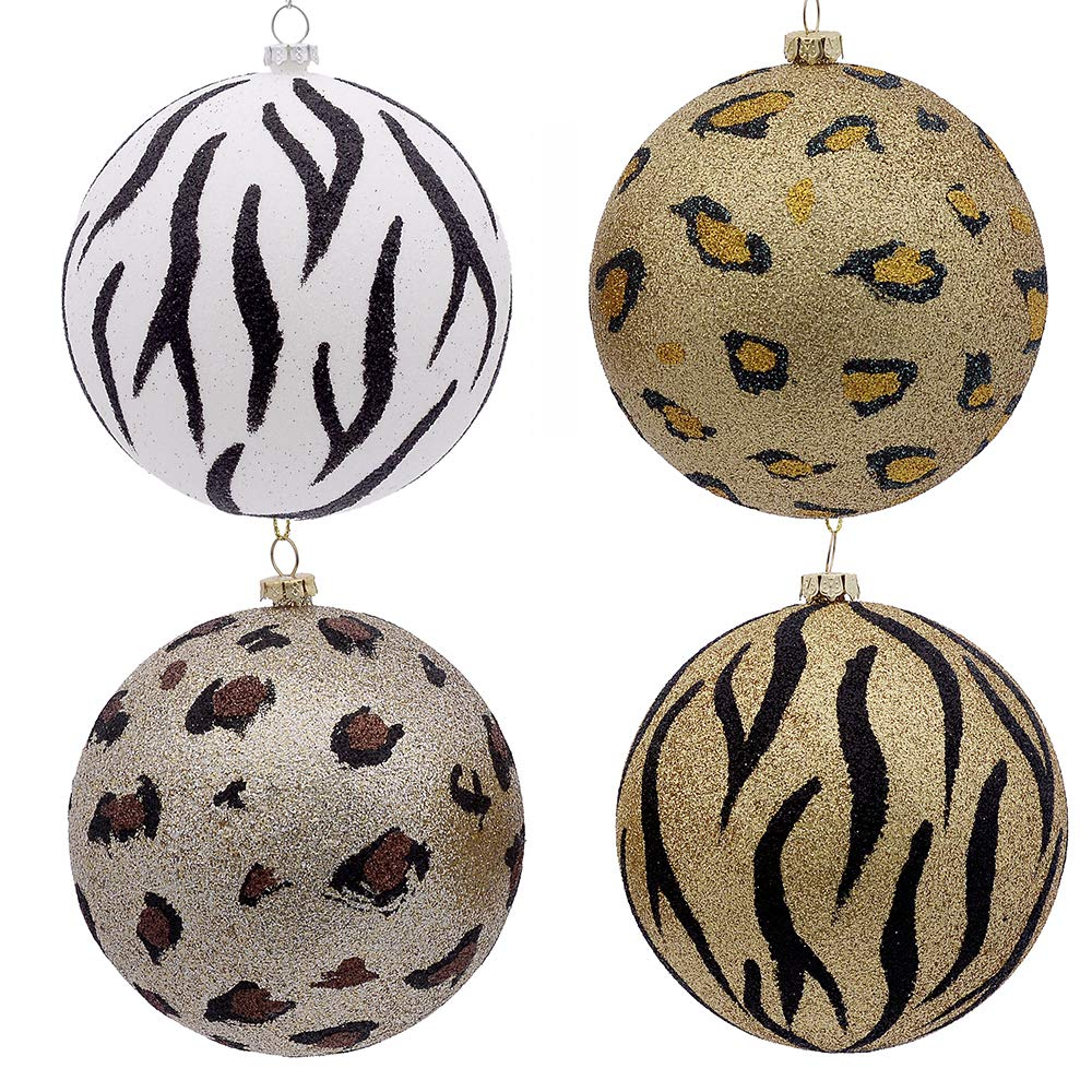 Kurt Adler Kurt S. Adler 100MM Glitter Animal Print Ball, Box of 6 Ornament, Multi