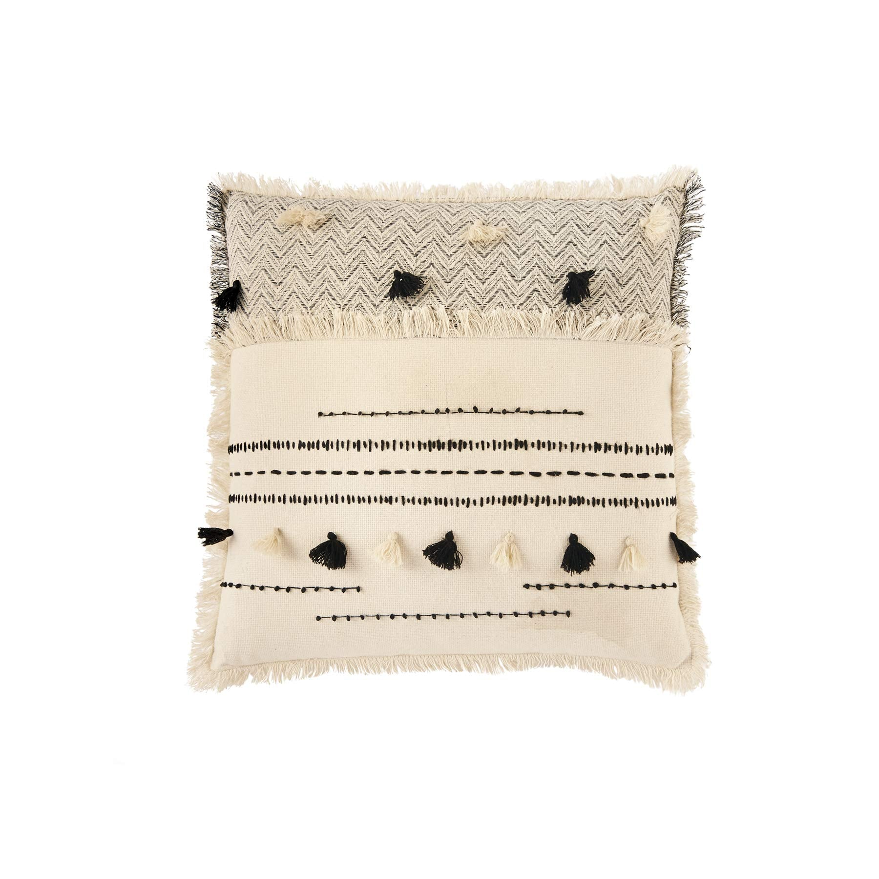 Mud Pie Woven Cotton Square Accent Pillow with Tassels-20 Decorative Pillow White, Black