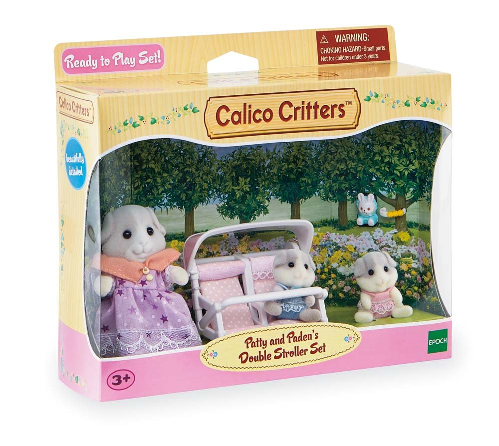 Calico Critters Patty & Paden's Double Stroller Set