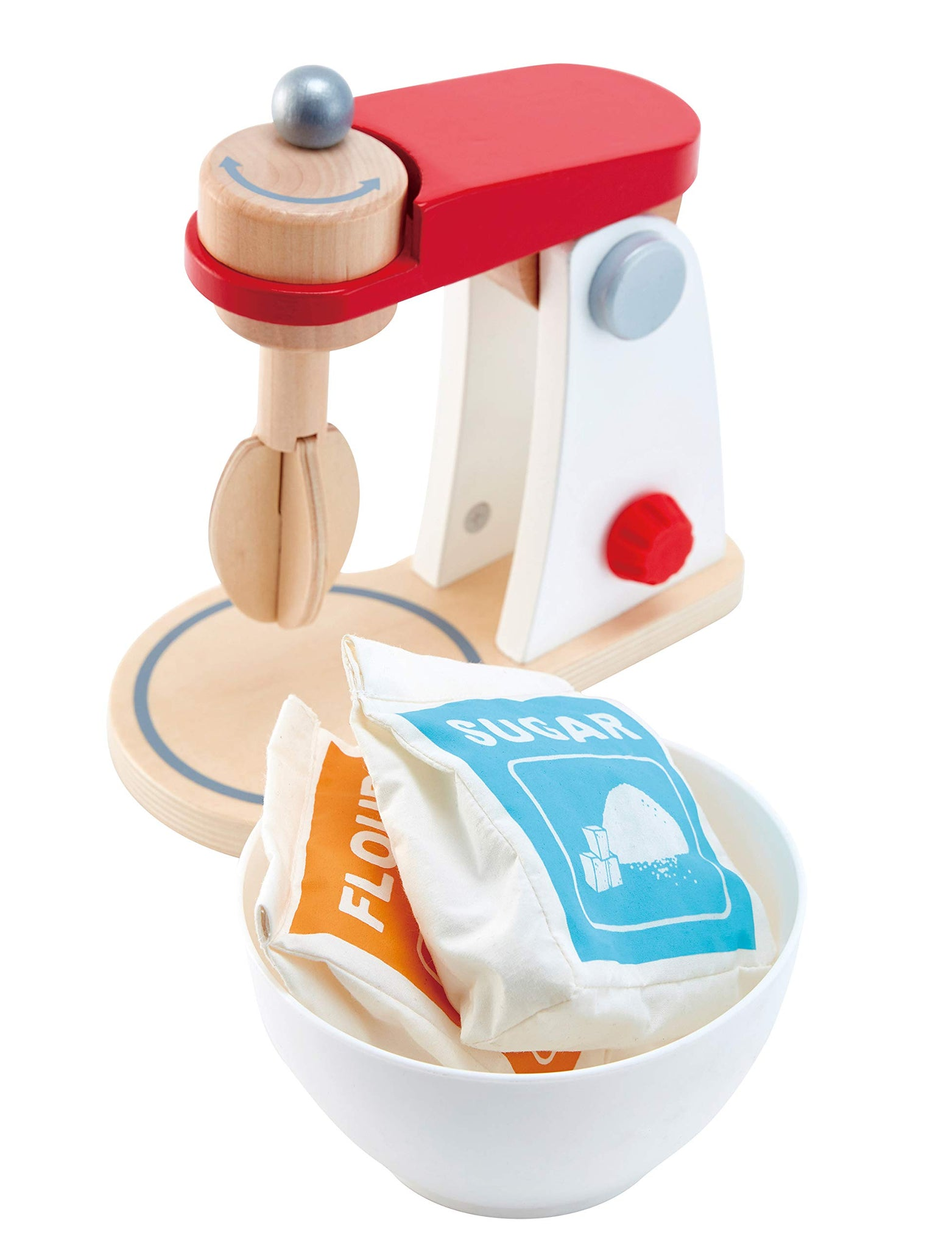 Hape White Wooden Kitchen Mix & Bake Blender Toy, Playfully Delicious Mighty Mixer, Pretend Play Baking Mixer Set for Kids Preschoolers