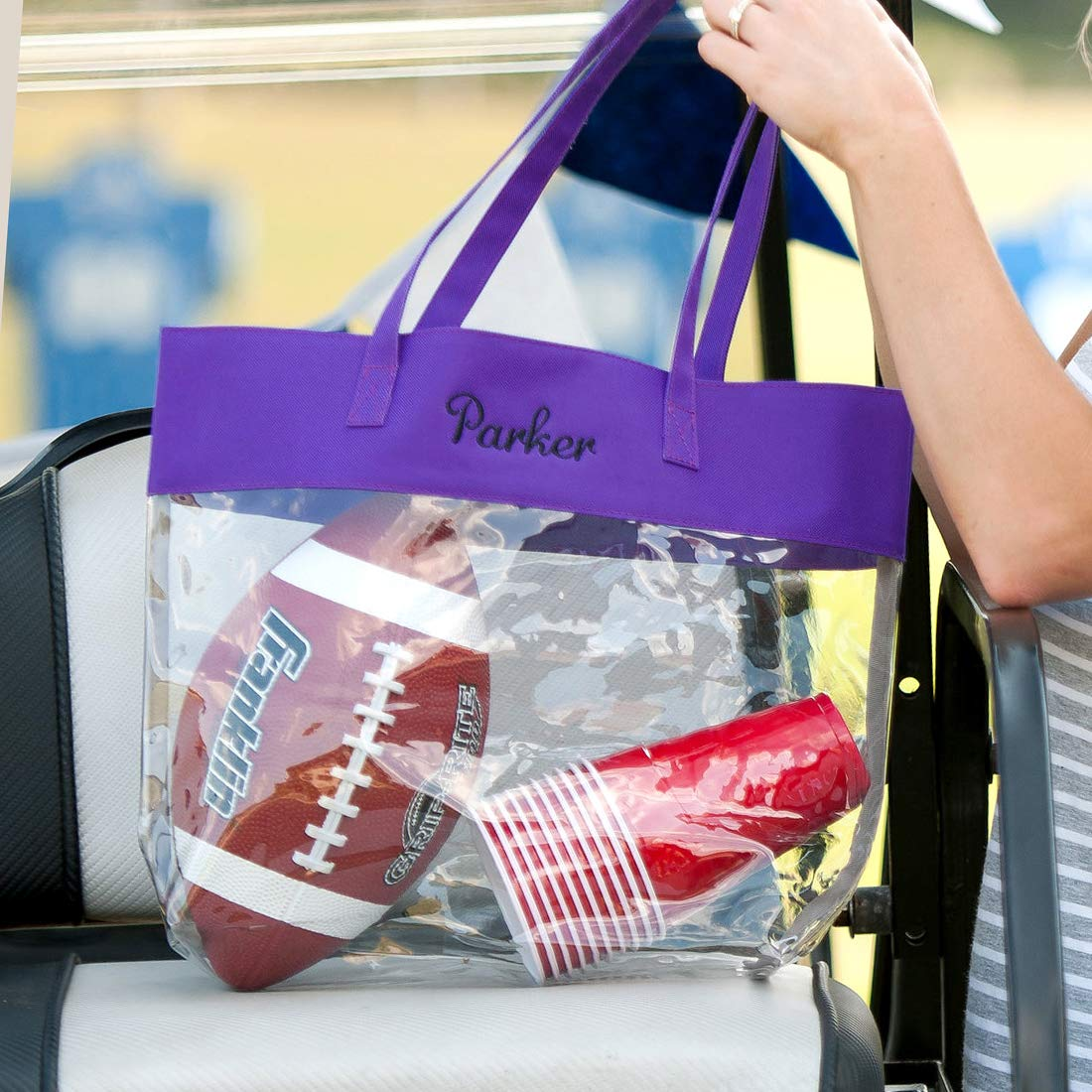 Purple 12 x 12 Inch Polyester Clear Stadium Tote Bag