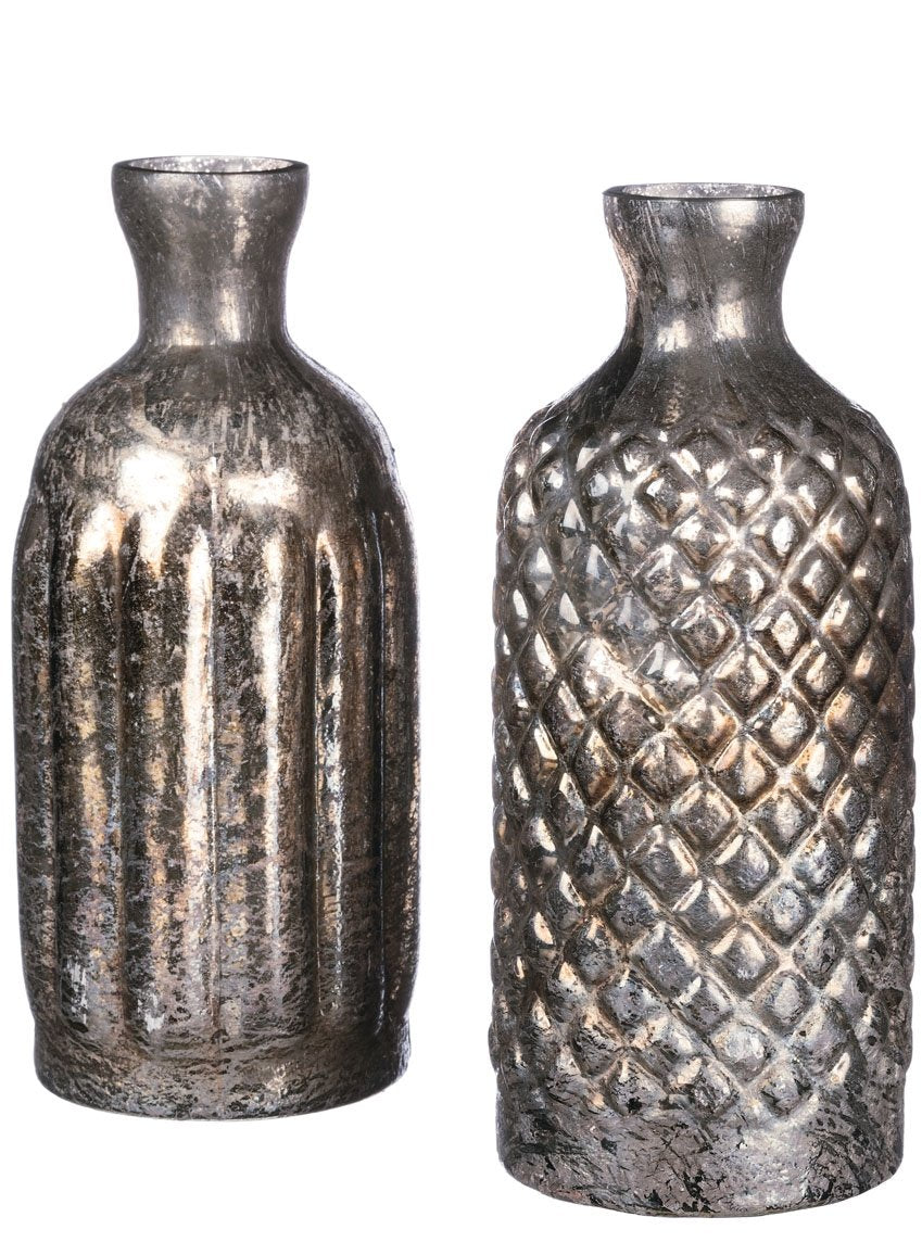 "Sullivans Glass Bottle Vases Decor Thin Neck with Textured Base, 4"" x 10"" Each-Set of 2, Antique Silver, 2"